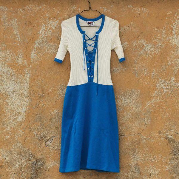 vestito in maglia blu e panna Rodier, vintage