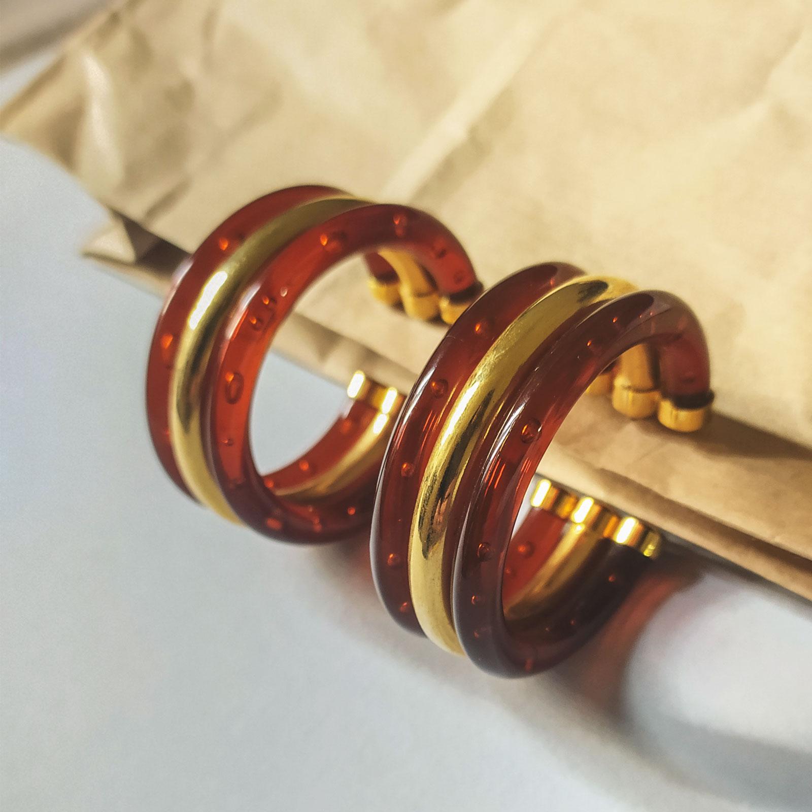 Orecchini vintage a cerchio oro e marrone